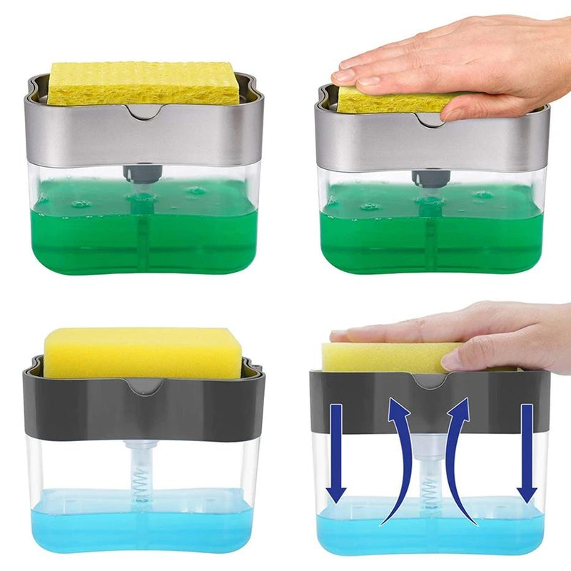 2-in-1 Soap Dispenser Pump with Sponge Holder Kitchen Essentials - DailySale