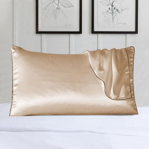 2-Pack: 100% Silk Pillow Cover with Trim Bedding Beige - DailySale
