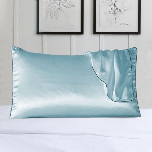 2-Pack: 100% Silk Pillow Cover with Trim Bedding Blue - DailySale