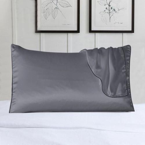 2-Pack: 100% Silk Pillow Cover with Trim Bedding Gray - DailySale