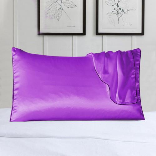2-Pack: 100% Silk Pillow Cover with Trim Bedding Purple - DailySale