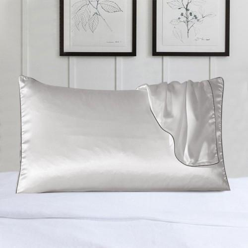 2-Pack: 100% Silk Pillow Cover with Trim Bedding White - DailySale