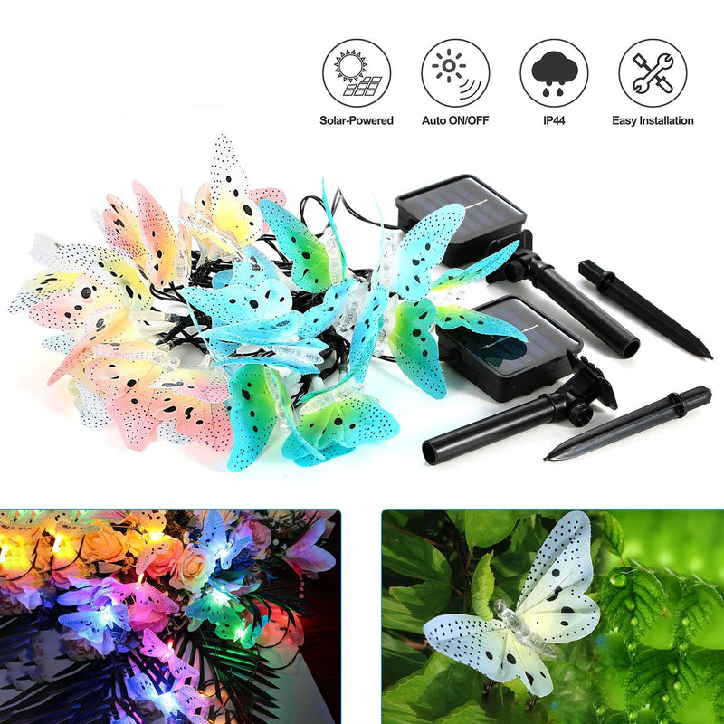 2-Pack: 3.8M Solar String Butterfly Lights Garden & Patio - DailySale