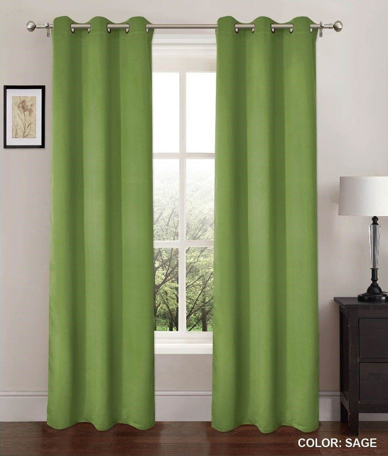2-Pack: Blackout Window Shade Curtains - Color: Sage Furniture & Decor - DailySale