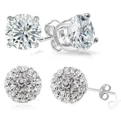 2-Pack: Crystal Ball and Round Stud Earrings Set Earrings - DailySale