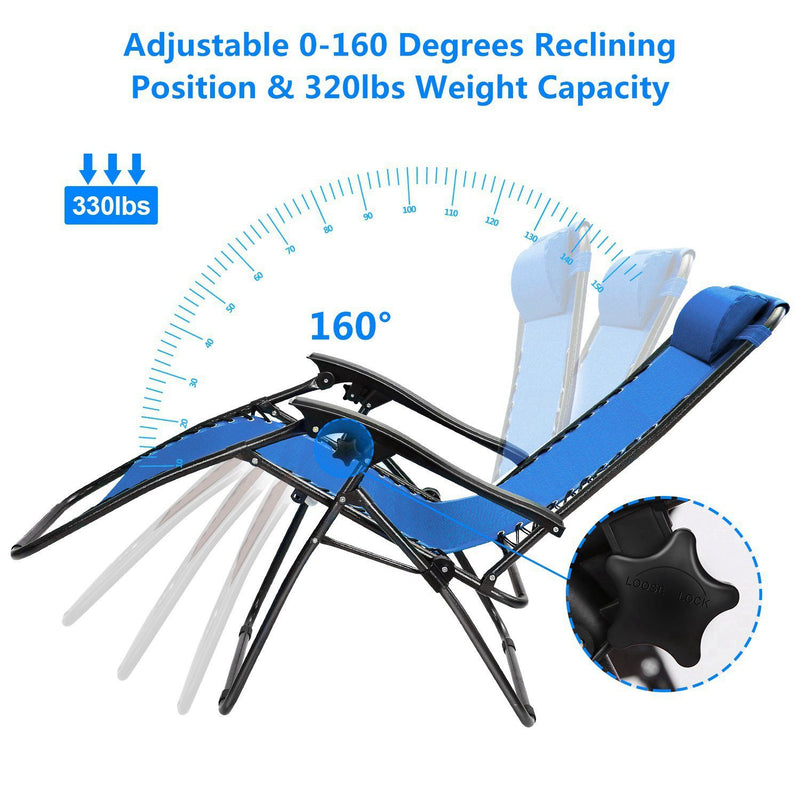 2-Pack: Foldable Zero Gravity Lounge Chair with Dual Side Tray