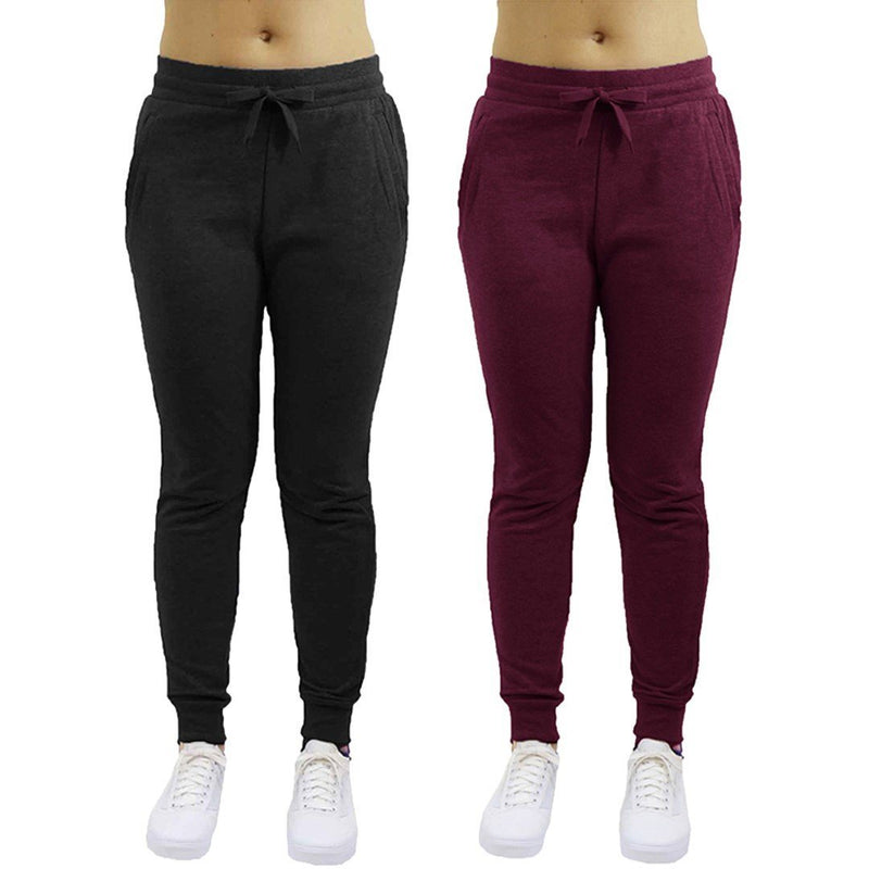 2-Pack: Galaxy By Harvic Women's Heavyweight Fleece-Lined Joggers Women's Apparel S Black/Burgundy - DailySale