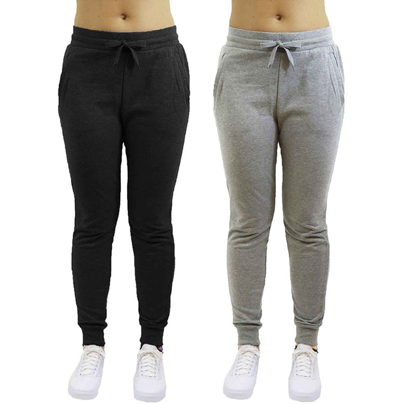 2-Pack: Galaxy By Harvic Women's Heavyweight Fleece-Lined Joggers Women's Apparel S Black/Heather Gray - DailySale