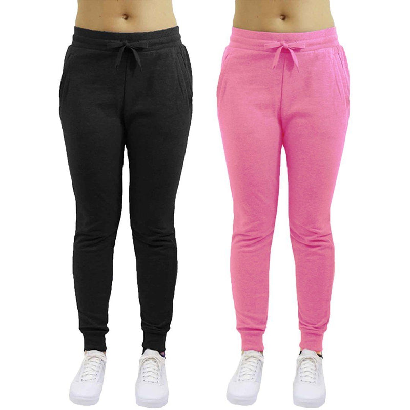 2-Pack: Galaxy By Harvic Women's Heavyweight Fleece-Lined Joggers Women's Apparel S Black/Pink - DailySale