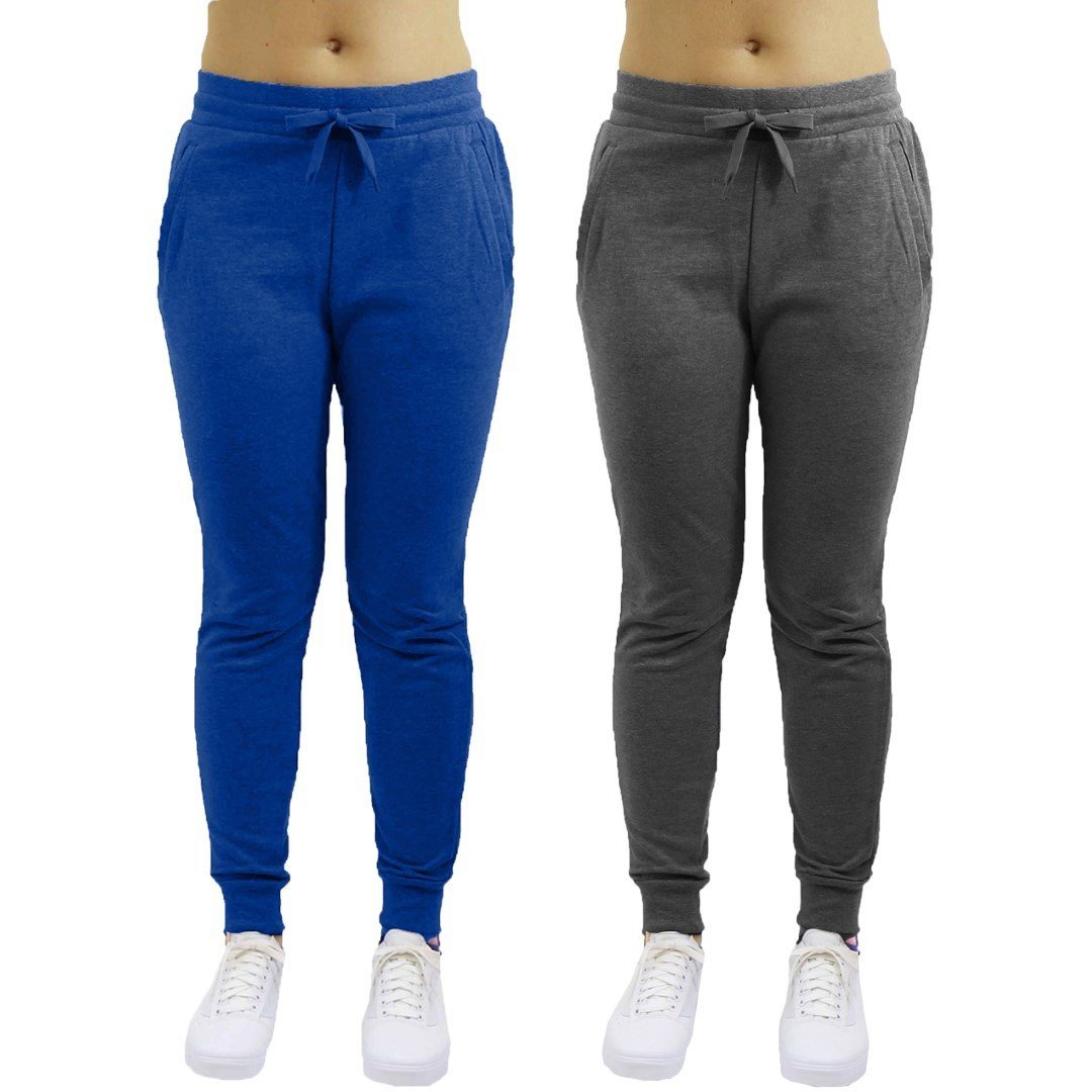 2-Pack: Galaxy By Harvic Women's Heavyweight Fleece-Lined Jogger Pants / Blue/Charcoal / Small
