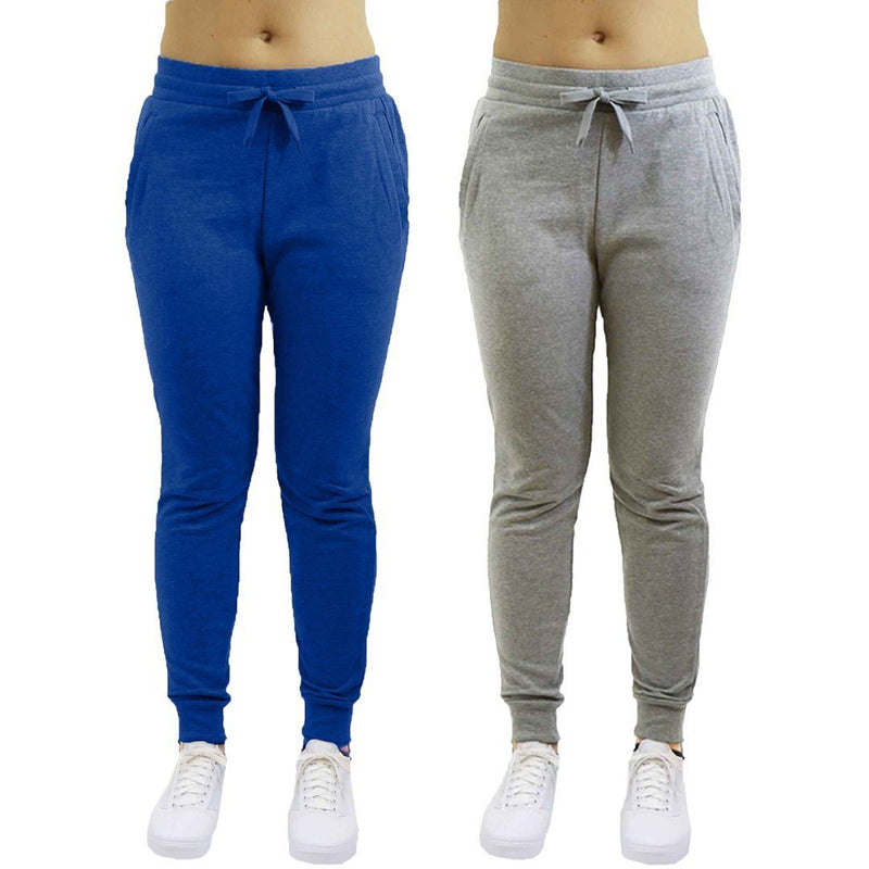 2-Pack: Galaxy By Harvic Women's Heavyweight Fleece-Lined Joggers Women's Apparel S Blue/Heather Gray - DailySale