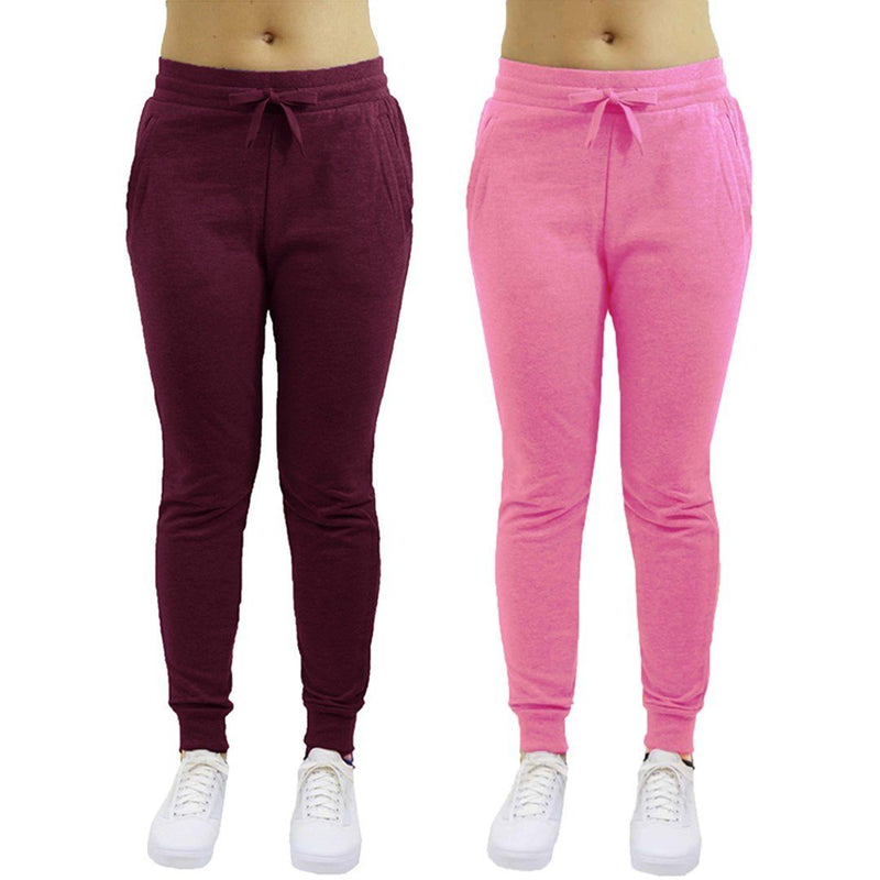 2-Pack: Galaxy By Harvic Women's Heavyweight Fleece-Lined Joggers Women's Apparel S Burgundy/Pink - DailySale