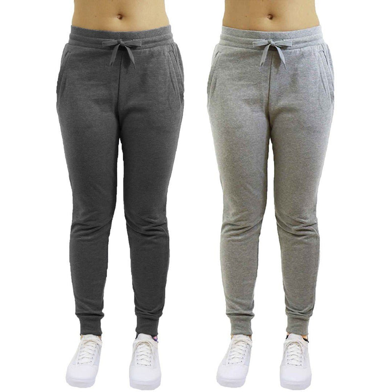 2-Pack: Galaxy By Harvic Women's Heavyweight Fleece-Lined Joggers Women's Apparel S Charcoal/Heather Gray - DailySale
