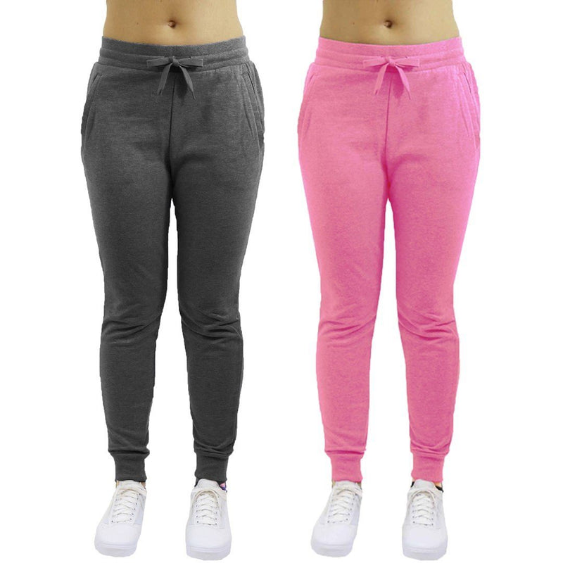 2-Pack: Galaxy By Harvic Women's Heavyweight Fleece-Lined Joggers Women's Apparel S Charcoal/Pink - DailySale