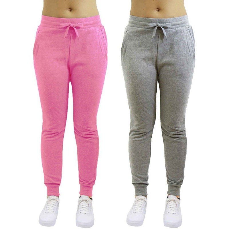 2-Pack: Galaxy By Harvic Women's Heavyweight Fleece-Lined Joggers Women's Apparel S Heather Gray/Pink - DailySale