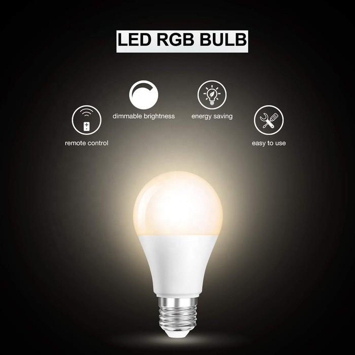 2-Pack: LED RGB Dimmable Bulbs Remote Control 5W A19 E26 Indoor Lighting & Decor - DailySale