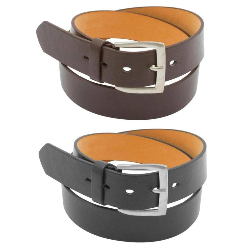 2-Pack: Men's Black & Brown Solid Belts Men's Apparel 30 32 - DailySale