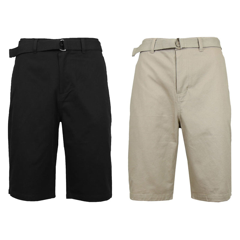 2-Pack: Men's Cotton Chino Shorts with Belt Men's Apparel 30 Black/Khaki - DailySale