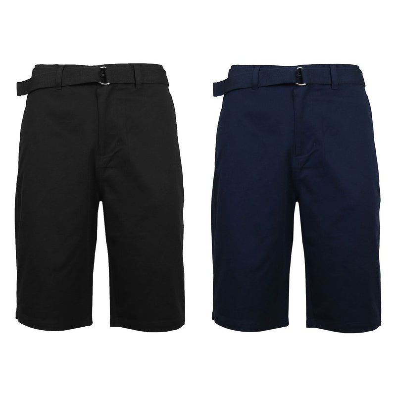 2-Pack: Men's Cotton Chino Shorts with Belt Men's Apparel 30 Black/Navy - DailySale