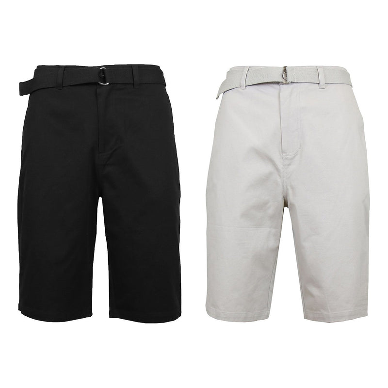 2-Pack: Men's Cotton Chino Shorts with Belt Men's Apparel 30 Black/Sand - DailySale