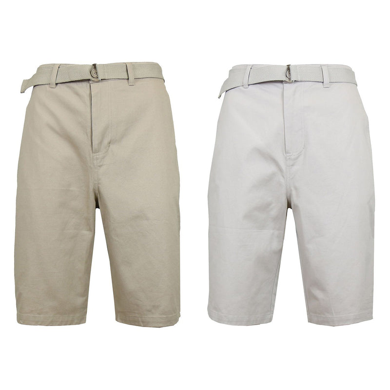 2-Pack: Men's Cotton Chino Shorts with Belt Men's Apparel 30 Khaki/Sand - DailySale