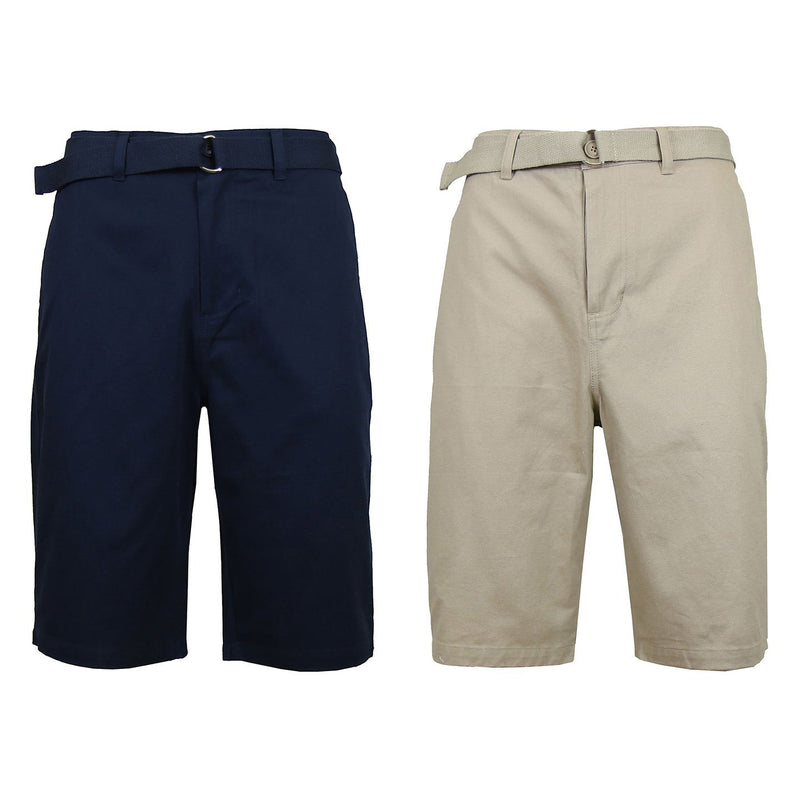 2-Pack: Men's Cotton Chino Shorts with Belt Men's Apparel 30 Navy/Khaki - DailySale