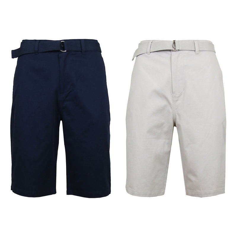 2-Pack: Men's Cotton Chino Shorts with Belt Men's Apparel 30 Navy/Sand - DailySale