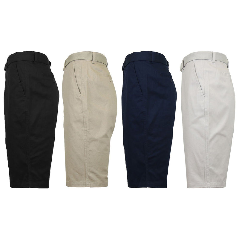 2-Pack: Men's Cotton Chino Shorts with Belt Men's Apparel - DailySale