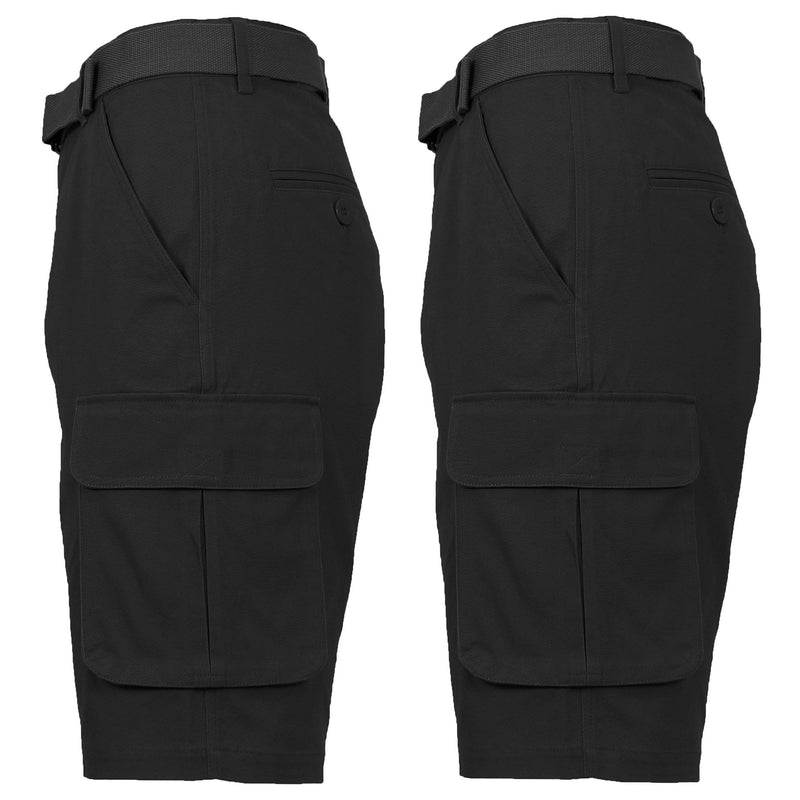 2-Pack: Men's Cotton Flex Stretch Cargo Shorts With Belt Men's Clothing Black/Black 30 - DailySale