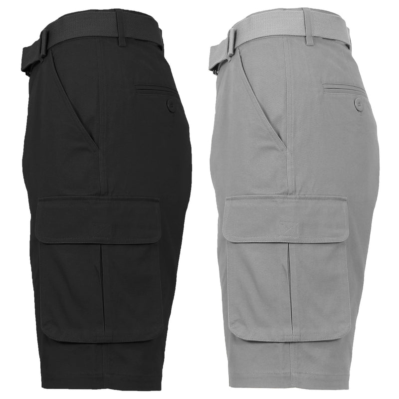 2-Pack: Men's Cotton Flex Stretch Cargo Shorts With Belt Men's Clothing Black/Grey 30 - DailySale