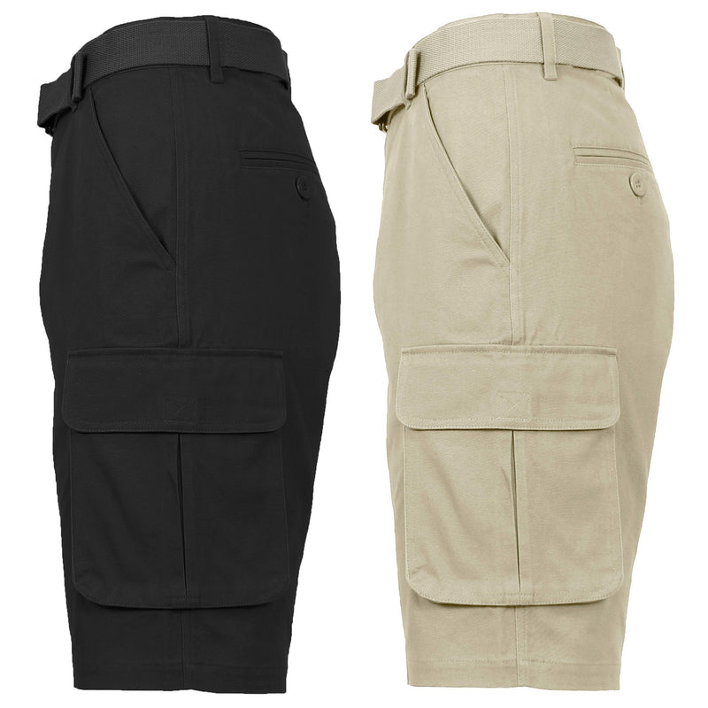 2-Pack: Men's Cotton Flex Stretch Cargo Shorts With Belt Men's Clothing Black/Khaki 30 - DailySale