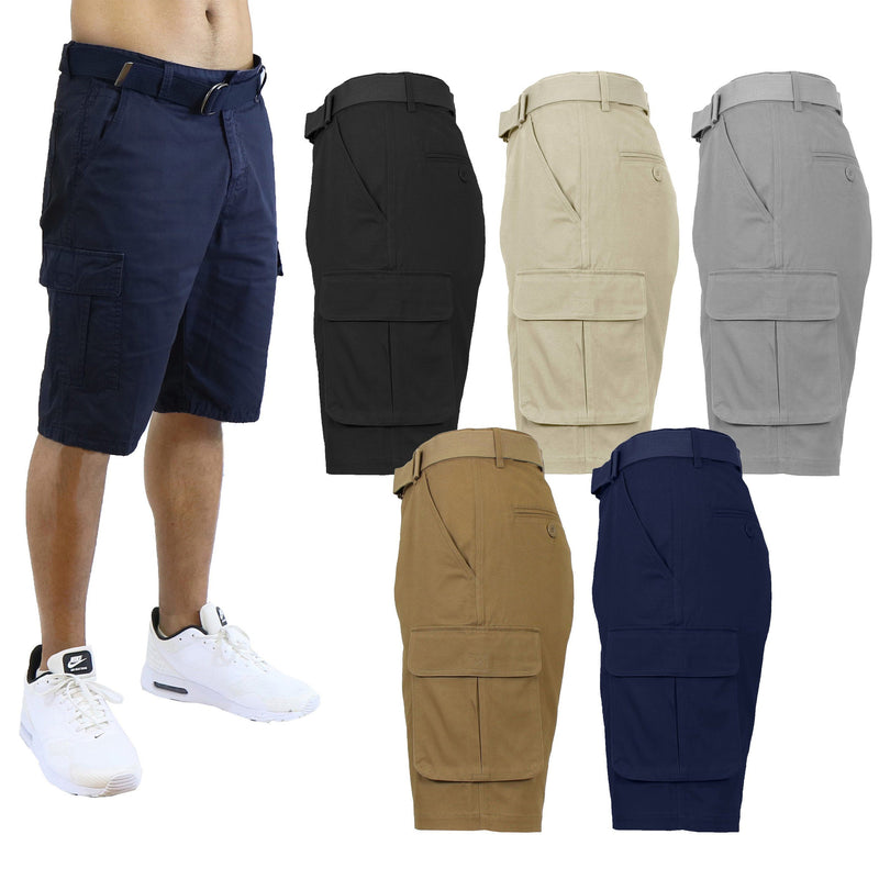 2-Pack: Men's Cotton Flex Stretch Cargo Shorts With Belt Men's Clothing - DailySale