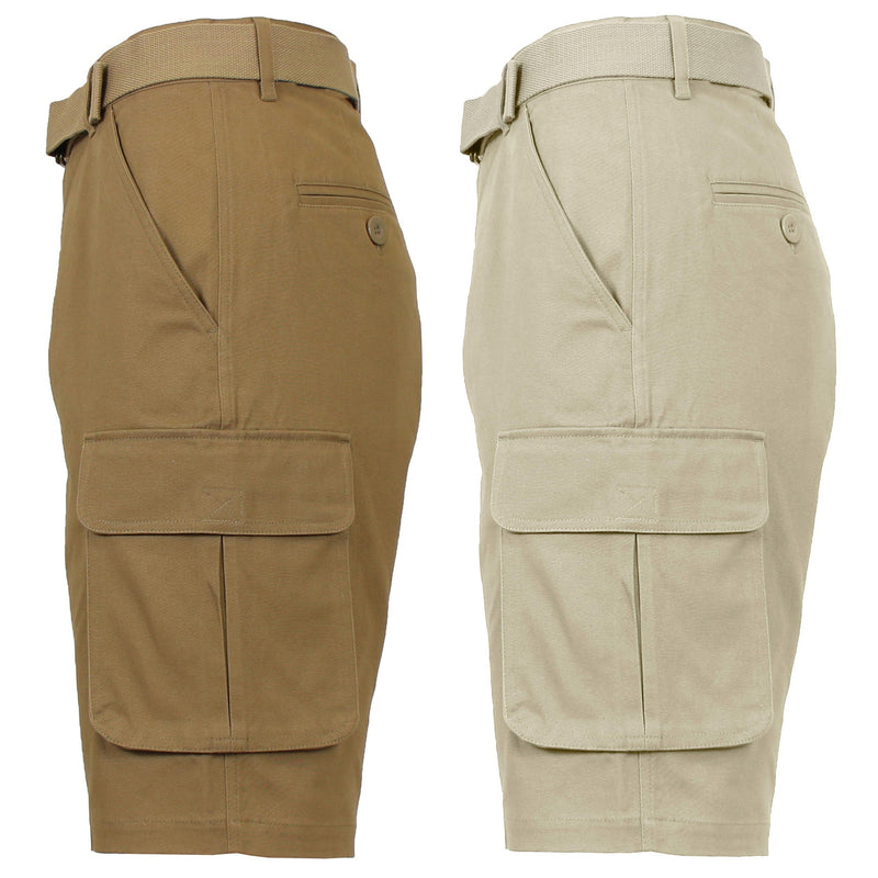 2-Pack: Men's Cotton Flex Stretch Cargo Shorts With Belt Men's Clothing Timber/Khaki 30 - DailySale