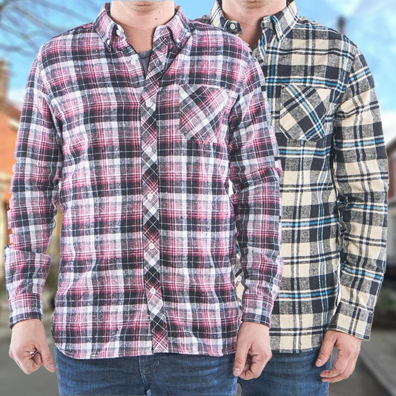 2-Pack: Men's Flannel 2-Pocket Button Down Shirts - Assorted Sizes Men's Apparel - DailySale