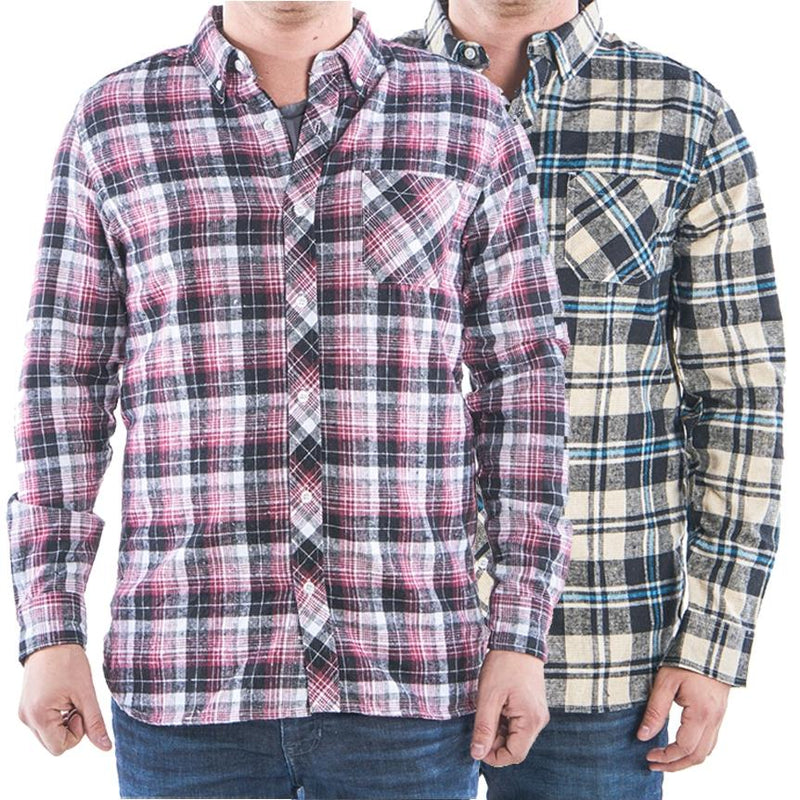 2-Pack: Men's Flannel 2-Pocket Button Down Shirts - Assorted Sizes Men's Apparel XXL - DailySale