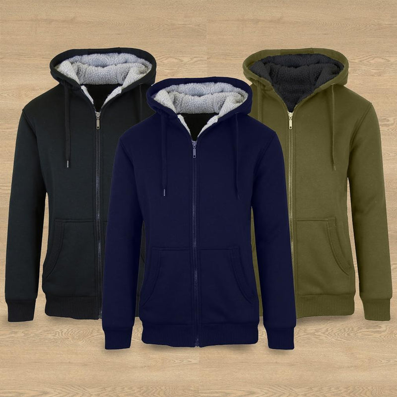 2-Pack: Men's Heavyweight Sherpa Fleece-Lined Zip Hoodie Men's Apparel - DailySale