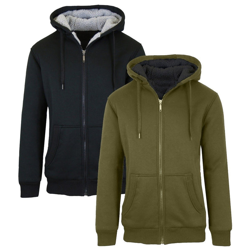 2-Pack: Men's Heavyweight Sherpa Fleece-Lined Zip Hoodie Men's Apparel M Black/Olive - DailySale