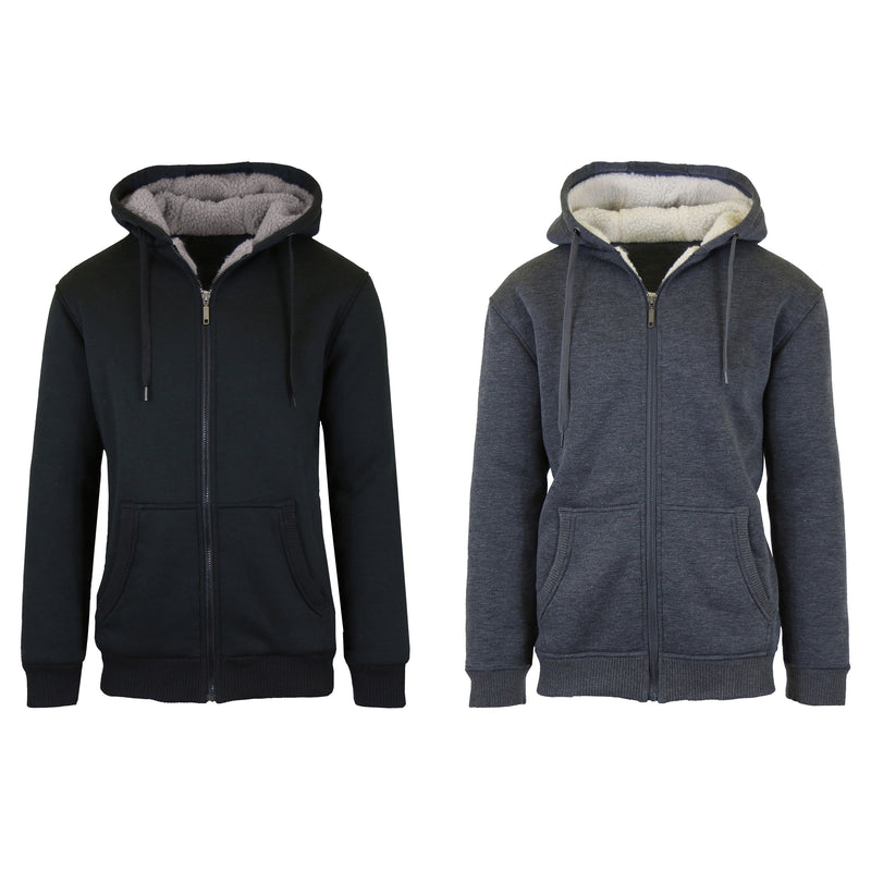 2-Pack: Men's Heavyweight Sherpa Fleece-Lined Zip Hoodie Sweater Men's Clothing Black/Charcoal S - DailySale