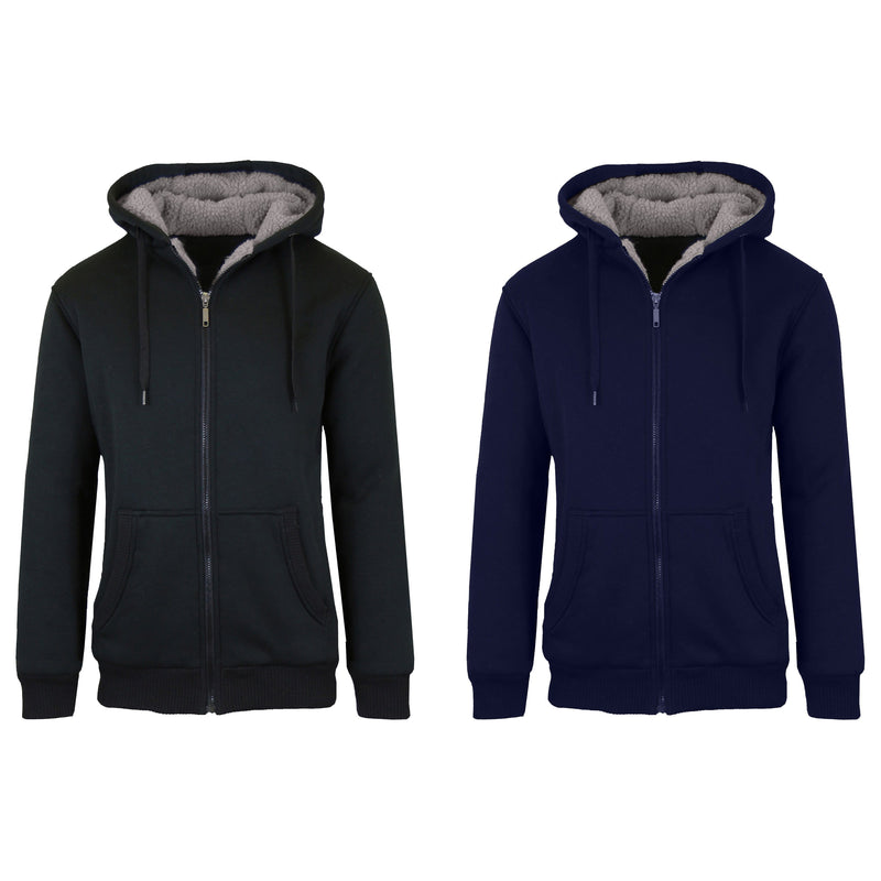 2-Pack: Men's Heavyweight Sherpa Fleece-Lined Zip Hoodie Sweater Men's Clothing Black/Navy S - DailySale