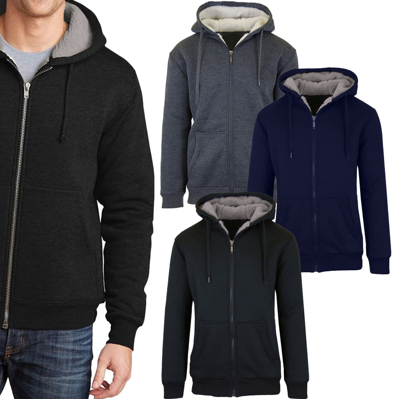 2-Pack: Men's Heavyweight Sherpa Fleece-Lined Zip Hoodie Sweater Men's Clothing - DailySale
