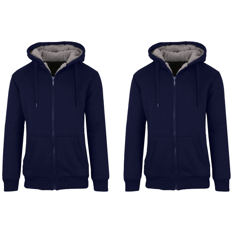 2-Pack: Men's Heavyweight Sherpa Fleece-Lined Zip Hoodie Sweater Men's Clothing Navy/Navy S - DailySale