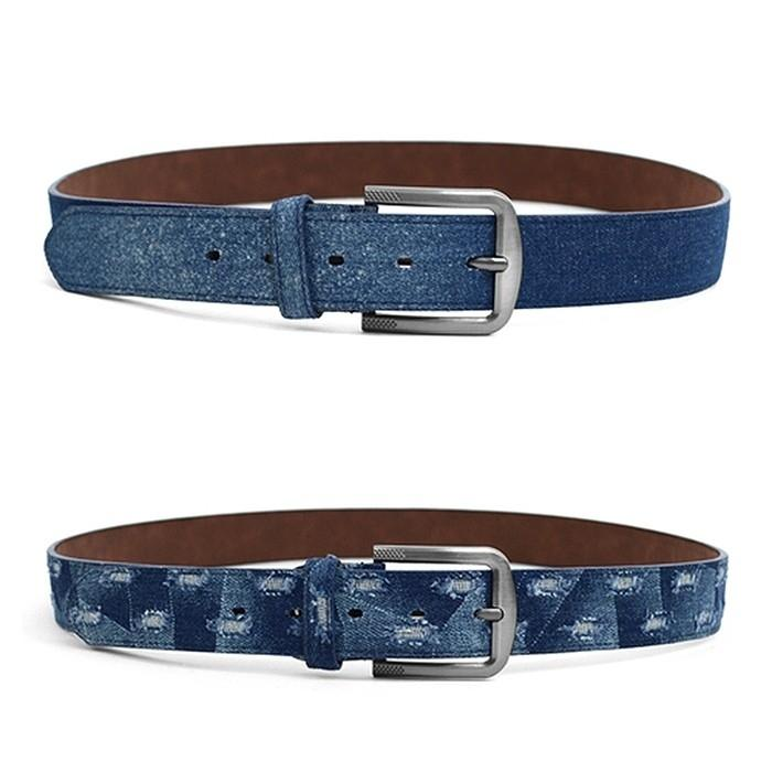 2-Pack: Men's Parquet Jean Washed Denim Belts - Size: Small Men's Apparel - DailySale