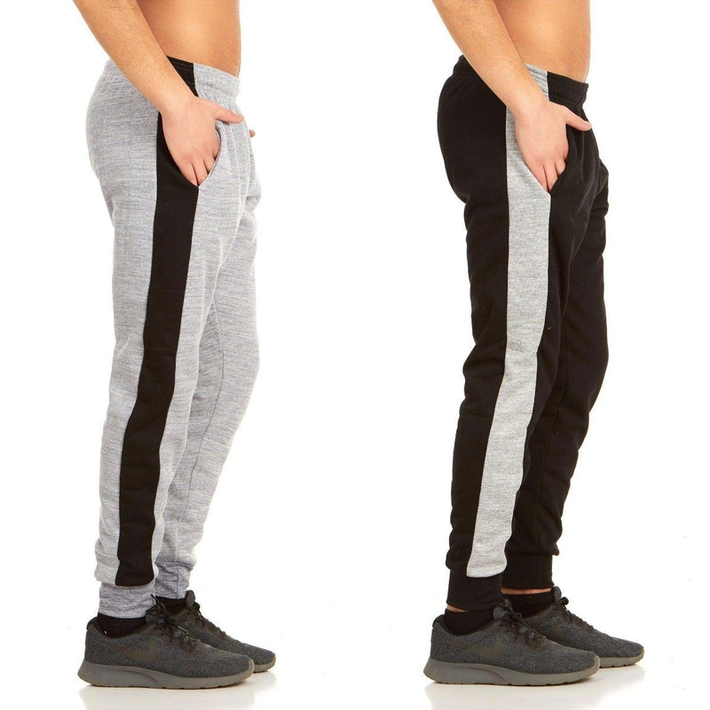 2-Pack: Men's Striped Marled Fleece Jogger Pants Men's Apparel S Black/Gray - DailySale