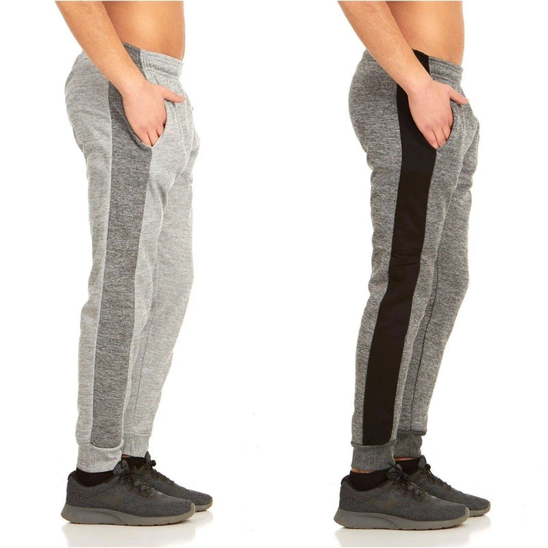 2-Pack: Men's Striped Marled Fleece Jogger Pants Men's Apparel S Charcoal/Heather Gray - DailySale