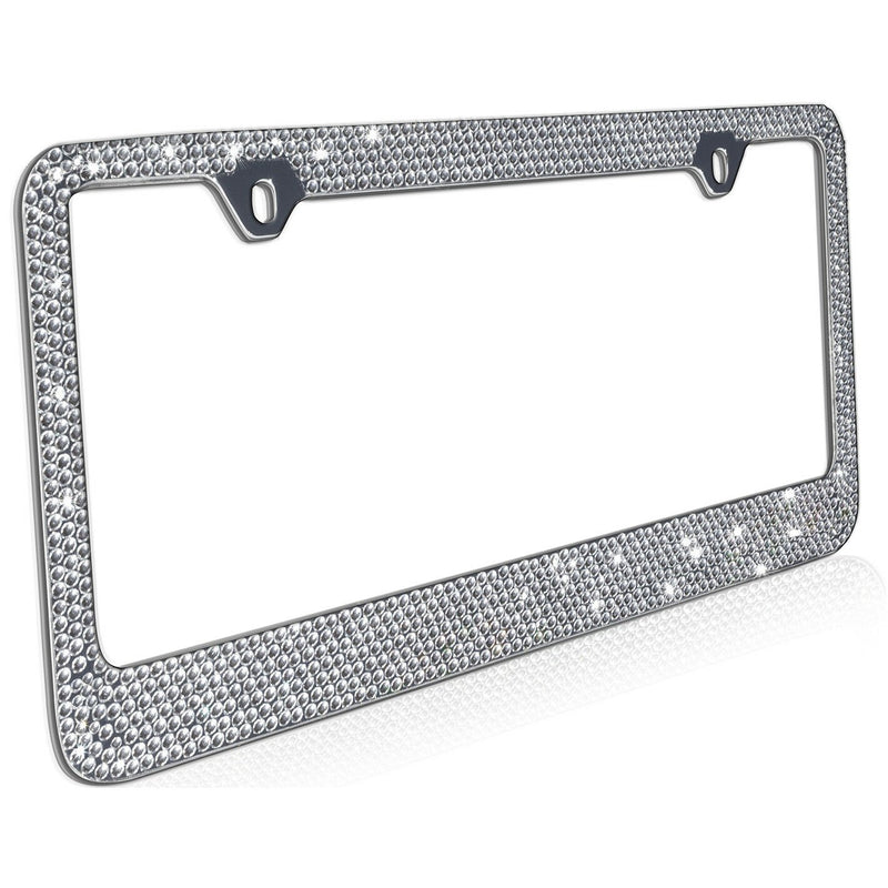 2-Pack: Metal License Plate Frame Bling RhineStones Chrome Swarovski Crystal Diamond Automotive - DailySale