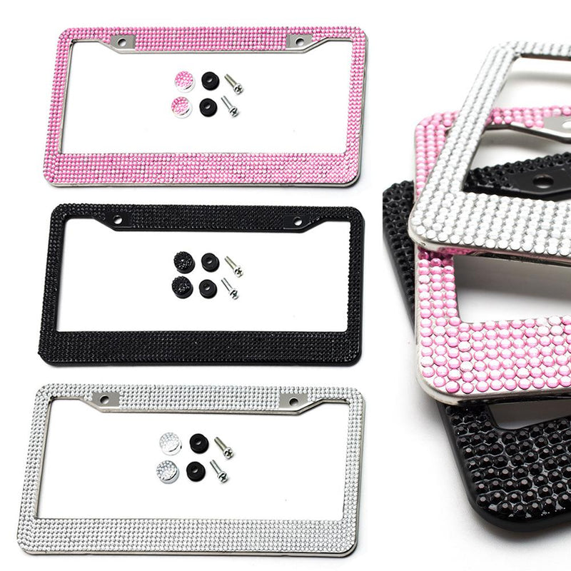 2-Pack: Metal License Plate Frame With Glitter Bling Rhinestone Diamonds Automotive - DailySale
