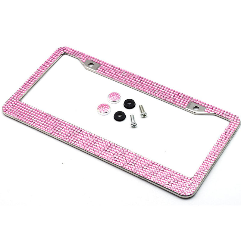 2-Pack: Metal License Plate Frame With Glitter Bling Rhinestone Diamonds Automotive Pink - DailySale