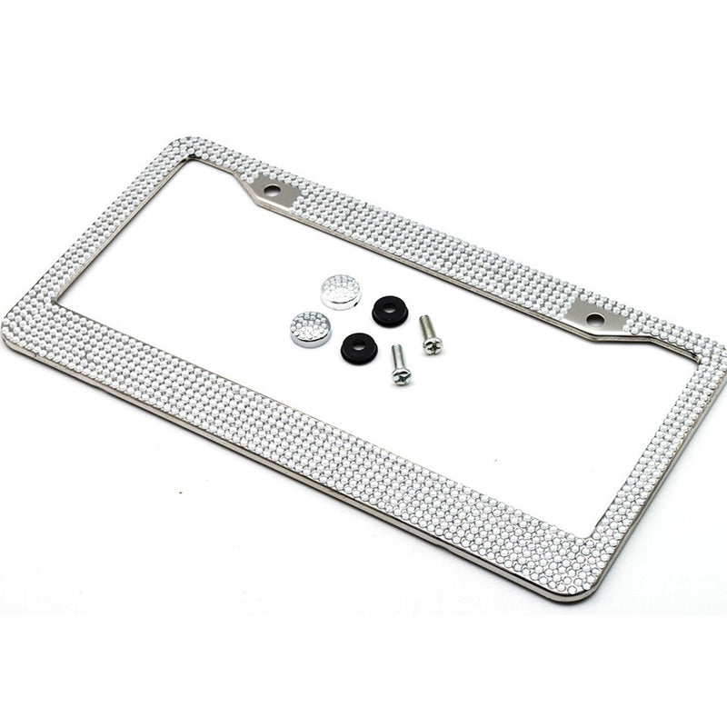 2-Pack: Metal License Plate Frame With Glitter Bling Rhinestone Diamonds Automotive Silver - DailySale