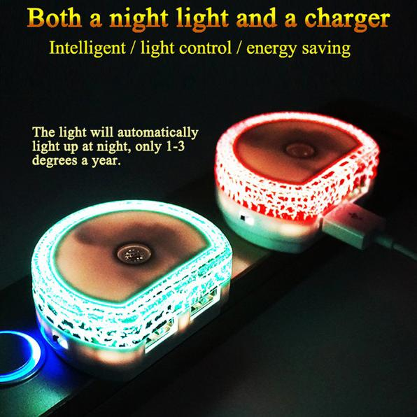 2-Pack: Plug-In Night Light With USB Ports And Motion Sensor Lighting & Decor - DailySale