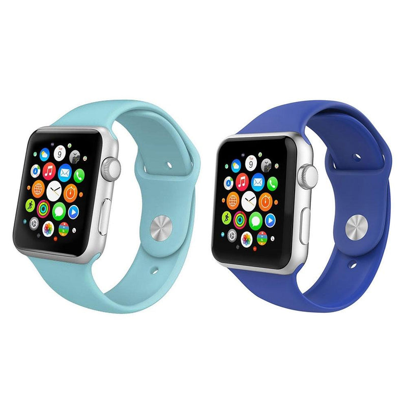 2-Pack: Silicone Apple Watch Straps Gadgets & Accessories 38/40mm Blue/Navy - DailySale